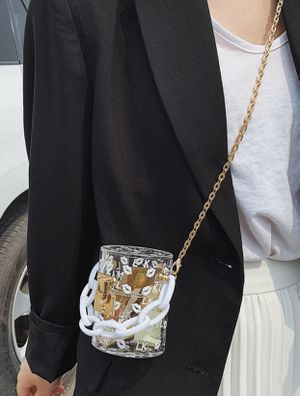 Clear plexiglass gold chain crossbody bag for Sale in Vienna, VA