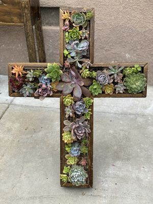 Succulent cross wood planter with stand for Sale in Paramount, CA