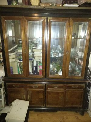 Antique wood and glass cabinet for Sale in Pensacola, FL