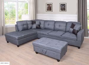 Gray color 3 PC Sectional Sofa Set, Left Facing Chaise with Storage Ottoman for Sale in NV, US
