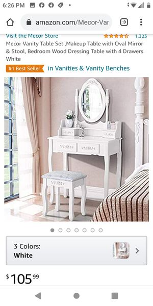 Brand new vanity set White with the stool for Sale in Bakersfield, CA