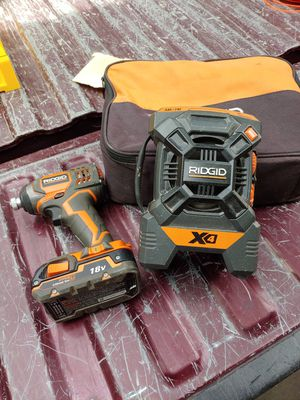 18 volts impact drill. Radio one battery NO CHARGER for Sale in Grand Terrace, CA