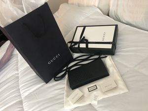 Brand New Gucci Wallet with shoulder strap (All Black) for Sale in Cayce, SC