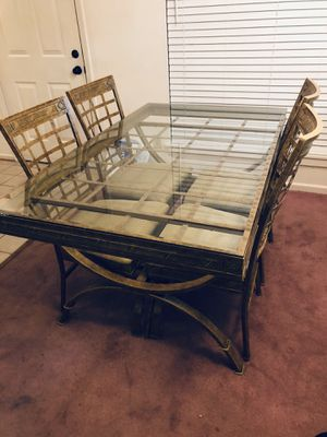 Glass dining room table and chairs set - 4 chairs for Sale in Alexandria, VA
