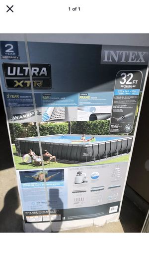 New Intex 32ft X 16ft X 52in Ultra Frame Rectangular Pool Set with Sand Filter Pump, Ladder,Ground Cloth for Sale in Western Springs, IL