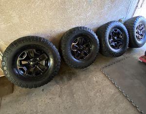 5x5 wheels Jeep wrangler rubicon wheel 5x5 lug pattern 35x12.50r17lt bfgoodrich mud terrain for Sale in Colton, CA