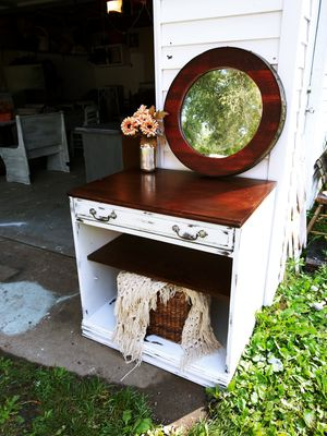 Farmhouse Distressed Desk / Table, Kitchen. Table top space for Coffee Maker, Microwave! 1 adjustable Shelf, 1 deep drawer! 30 x 30 x 22! for Sale in Joliet, IL