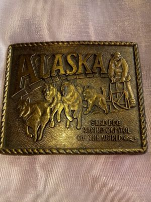 Alaska Sled Dog Racing Capitol of the World Brass Men's Belt Buckle for Sale, used for sale  Lancaster, CA