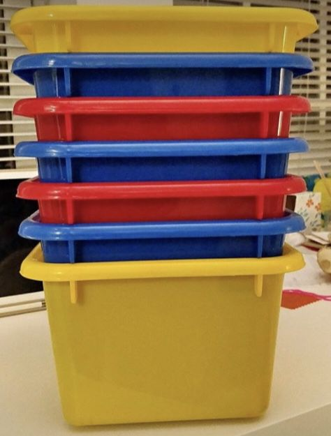 7 Small Bins Primary Color Toy Storage Bins only