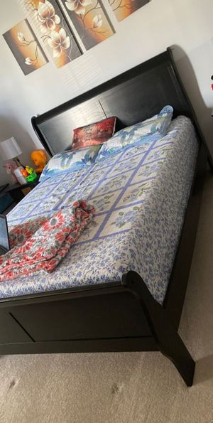 Brand New Queen Size Black Wood Sleigh Bed Frame for Sale in Silver Spring, MD