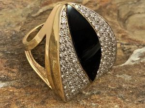 14kt Art Deco Inlay Black Navette Onyx & Diamond Ring for Sale in Roswell, GA