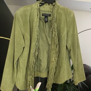 Green Leather Fringed Jacket for Sale in Akron, OH