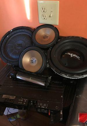 Two 6 1/2 Polkaudio 10 inch scar,kicker Rockford old school amp and cooling fan for Sale in Jonesboro, GA