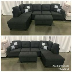 Brand New Charcoal Grey Linen Sectional With Storage Ottoman for Sale in Spanaway,  WA