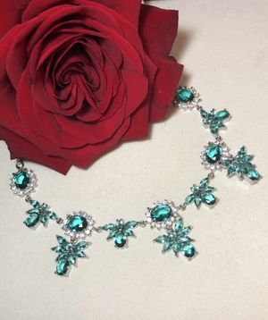 Sterling Silver.925 Rich Blue Aquamarine And CZ Necklace for Sale in Santee, CA