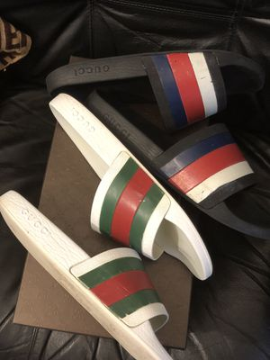 Authentic Gucci slides size 9 $200 for both has box & dustbag for Sale in Boston, MA