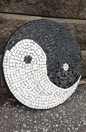 "18"" ORIGINAL SIGNED MOSAIC TILE YIN YANG. TILE & WOOD. READY TO HANG! for Sale in Cincinnati, OH"