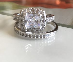 Sterling silver white Sapphire Engagement/Wedding Ring Sz6 for Sale in Wood Dale, IL