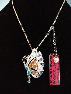 Betsey Johnson Crystal butterfly pin / necklace. Brand new for Sale in Panama City Beach, FL