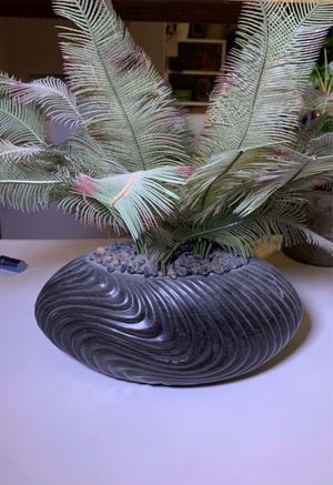 Artificial fake plant with pot and decorative rock for Sale in Glendale, CA