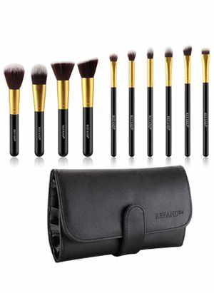 Brand new 10 piece Makeup Brushes, Makeup Brush Set Professional Makeup Kit with Pu Leather Storage Bag Gold Black, Handmade Brushes Made of Premium for Sale in Arnold, MO