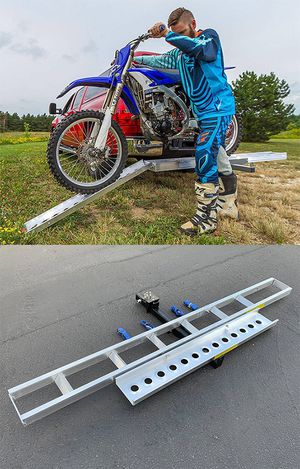New in box $75 Aluminum Foldable Motorcycle Loading Ramp, Scooter, Wheel Chair, Motorbike (Max 450 lbs) for Sale in Whittier, CA