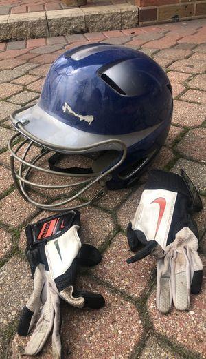 Baseball softball helmet batting gloves for Sale in Glen Ellyn, IL