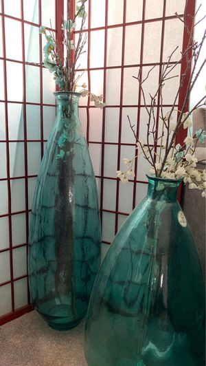 Home decor tiffany blue color vases for Sale in Santa Ana, CA