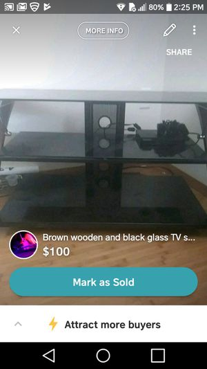 Brown wooden & black glass TV stand for Sale in St. Louis, MO