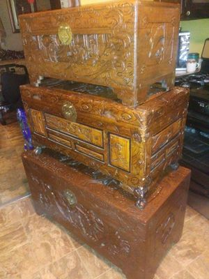 Rare antique three hand carved Japanese wooden trunks amazing details found in storage unit asking 2400 will sell separately for Sale in Houston, TX