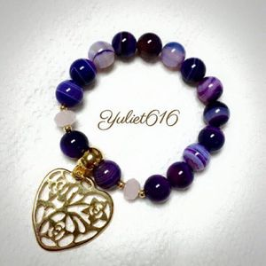 Agata bracelet with gold plated pendant for Sale in Hialeah, FL