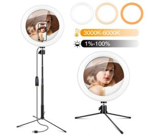 """Gugusure 10"""" Led Ring Light with Tripod Stand & Phone Holder, Dimmable Desk Makeup Ring Light for Live Streaming/Make Up/YouTube Video for Sale in Rancho Cucamonga, CA"""