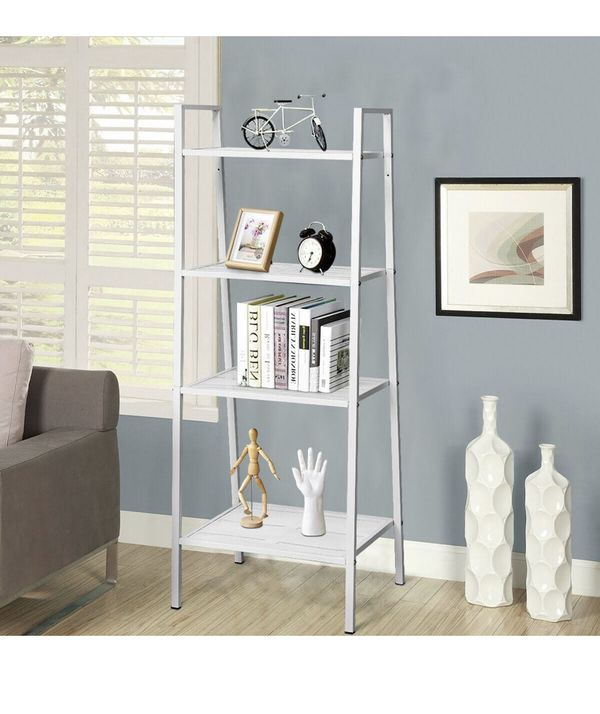 Costway 4-Tier Metal Ladder Shelf Storage Rack Bookshelf Metal Mesh Layers Display Stand