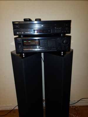 2 Sounds waves Sonata speakers series 3 with a Yamaha DVD & onkyo Tuner amplifier for Sale in Port St. Lucie, FL