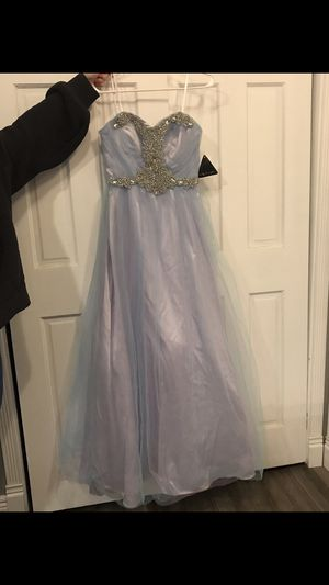 New with tags purple blue rhinestone formal gown dress ball gown prom dress size 7 for Sale in Parma, OH