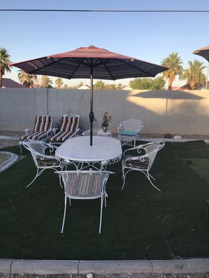 Heavy Iron patio furniture 11 pieces good condition with cushions for Sale in North Las Vegas, NV