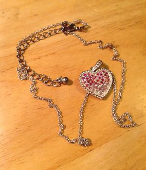 Silver heart with pink stones necklace for Sale in Holdrege, NE