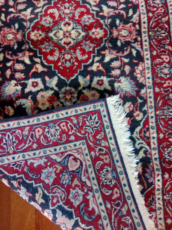 Hand woven Persian designed 5x3 blue and white and red colors.
