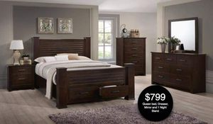 Queen bed dresser mirror and one night stand for Sale in Hialeah, FL