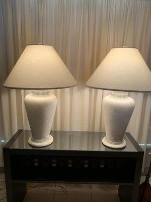 (2) PEBBLED CREAM COLOR CERAMIC LAMPS for Sale in BELLEAIR BLF, FL