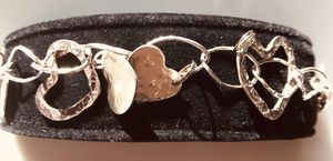 Artist made and hand crafted sterling silver heart bracelet for Sale in Colesville, MD