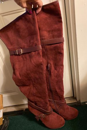 Cranberry Suede Thigh Hi Boots for Sale in Wyandotte, MI