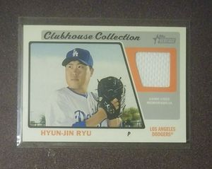 2015 Topps Heritage Hyun-Jin Ryu Clubhouse Collection Los Angeles Dodgers L.A. Game Used Jersey Relic HJR Baseball Card Collectible Sports MLB for Sale in Salem, OH