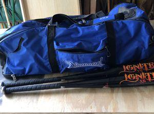 Diamond Baseball bat bag with 2 bats for Sale in Weymouth, MA