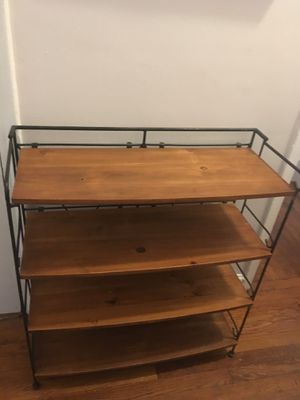 Pottery Barn wood wrought iron folding shelf bookshelves for Sale in New York, NY