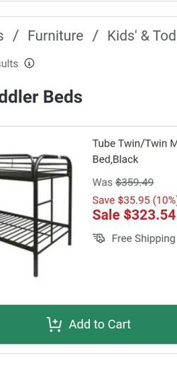 Tube Twin Metal Bunk Bed With A Twin Mattress for Sale in Rolling Meadows,  IL