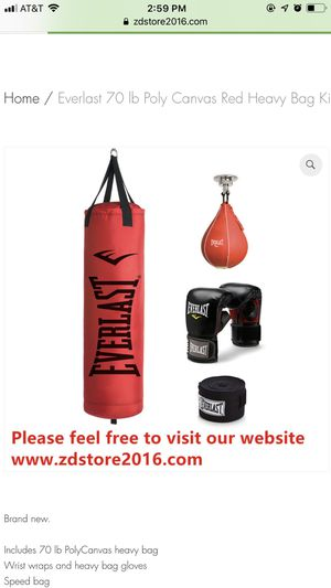 Everlast 70 lb Poly Canvas Red Heavy Bag Kit - $45 for Sale in Houston, TX