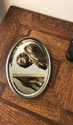 Antique Oval primitive gentleman's shaving mirror with hanging hook for Sale in Seattle, WA