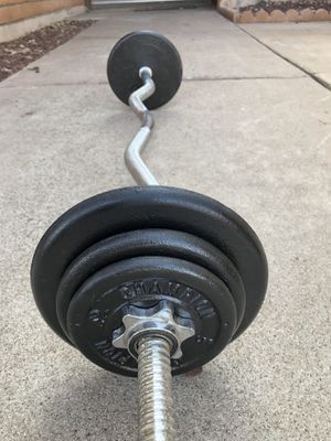 Standard 1 inch curl bar with Weight plates...$135 OBO for Sale in Glendale, AZ