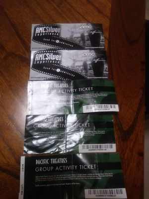 5 movie tickets..MAKE AN OFFER..No EXPIRATION DATE for Sale in Huntington Park, CA